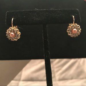 Gold, Rhinestone, and Pink Pearl Flower Earrings